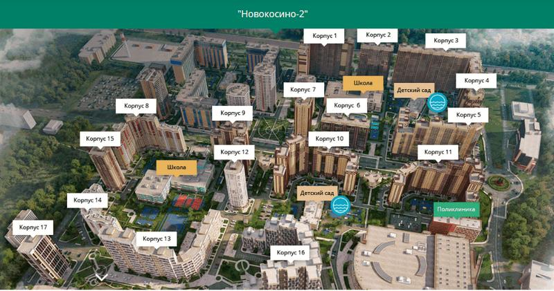 План застройки ЖК «Новокосино-2»