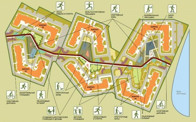 Схема благоустройства ЖК «Татьянин Парк»