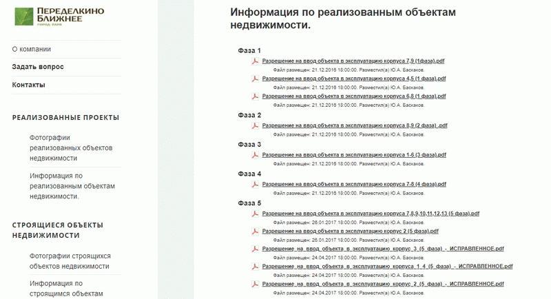 Документы по реализованным проектам