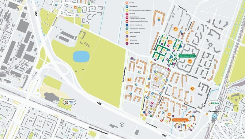 Карта местонахождения ЖК «Краски Лета»