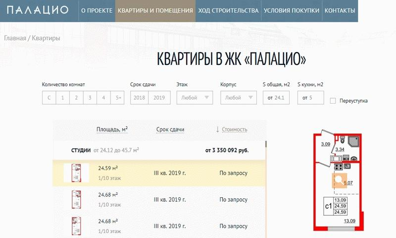 """Выбор квартир в ЖК """"Палацио"""""""