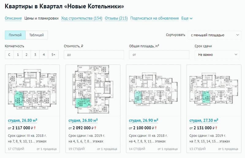 """Планировки квартир в ЖК """"Новые котельники"""""""