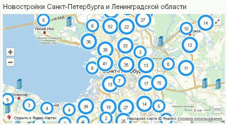 Новостройки СПб на карте
