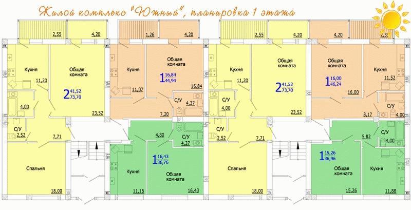"""Планировка квартир в ЖК """"Южный"""""""
