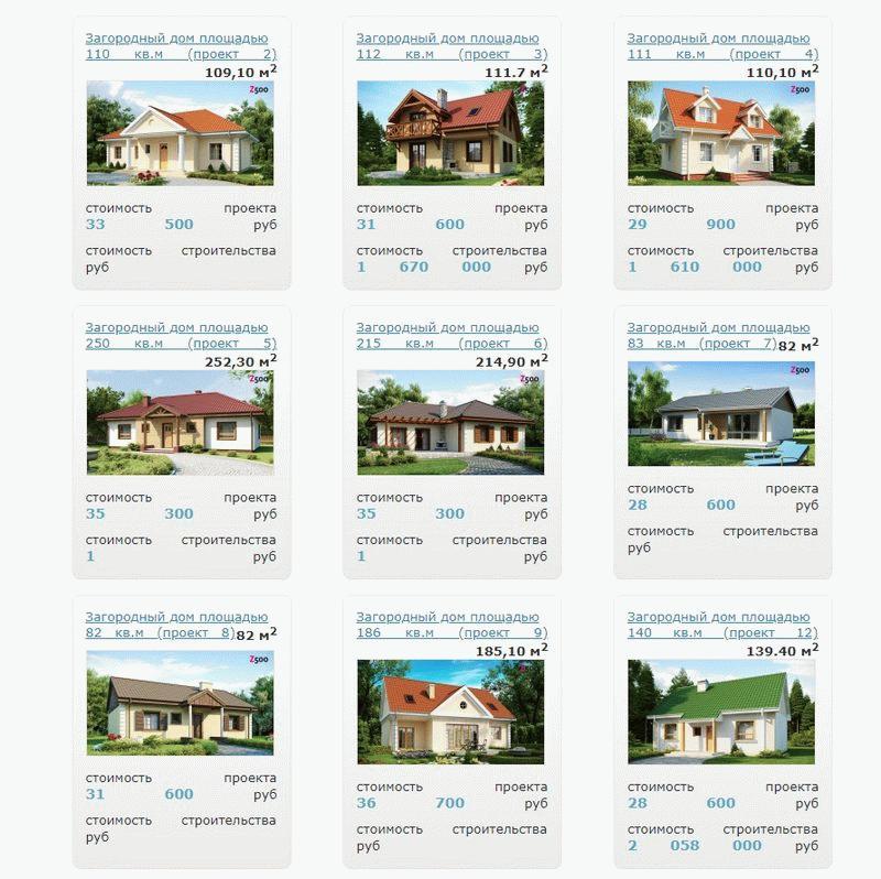 Примеры проектов коттеджей