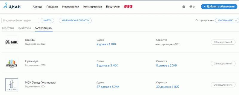 Предложение от застройщиков в Ульяновске на сайте циана