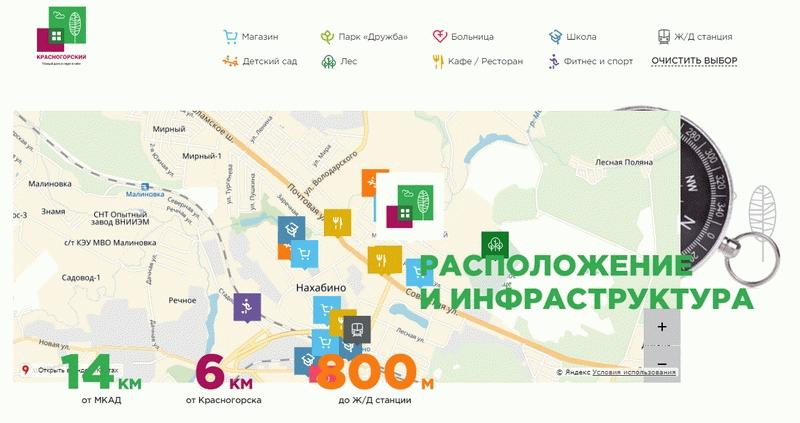 Расположение ЖК «Красногорский»