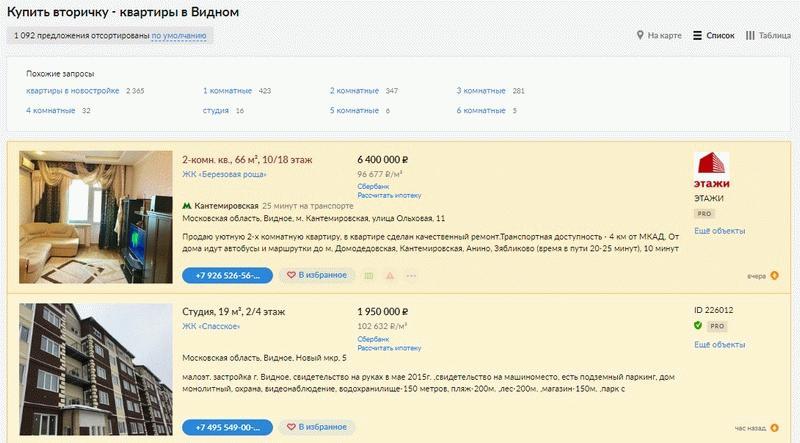 Объявления о продаже вторичного жилья в Видном