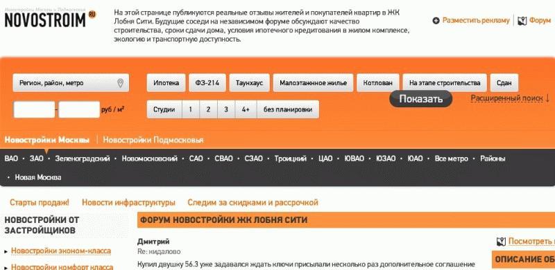 """Страница портала """"Новостроим"""""""