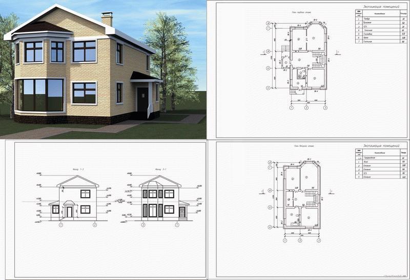 Пример проекта дома с двумя этажами