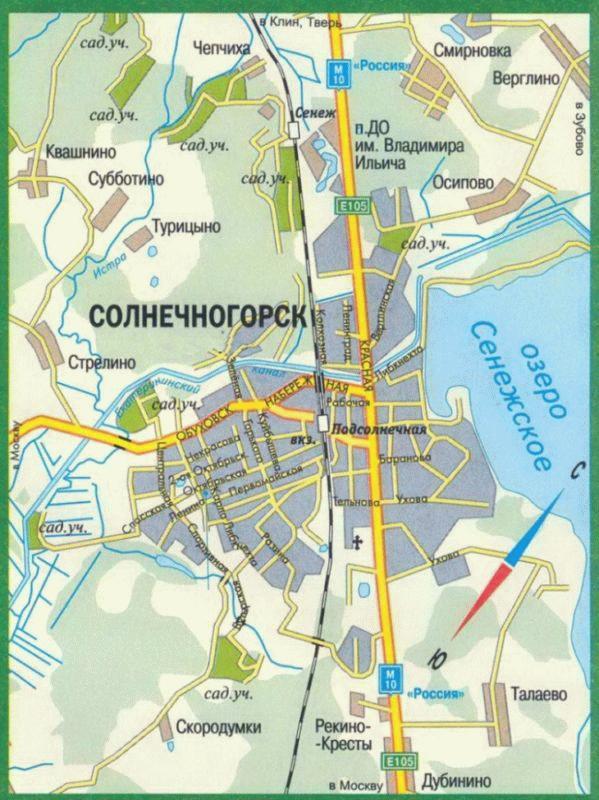 Карта Солнечногорска