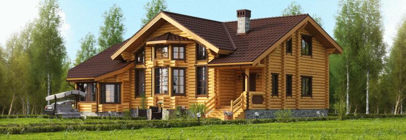 Деревянный дом из бруса на да этажа