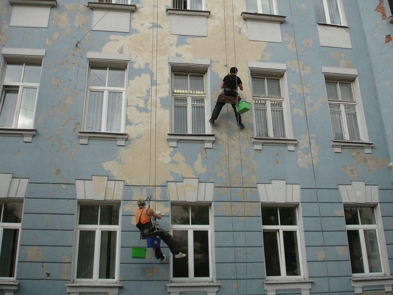 Зачистка стен внешнего фасада здания