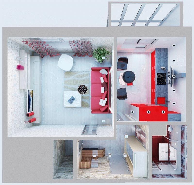 Вариант планировки однокомнатной квартиры