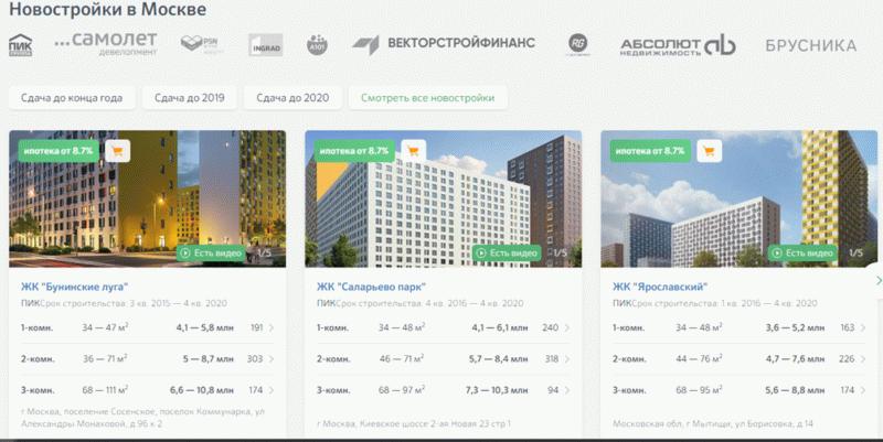 Таблица с ценами на новостройки в Москве