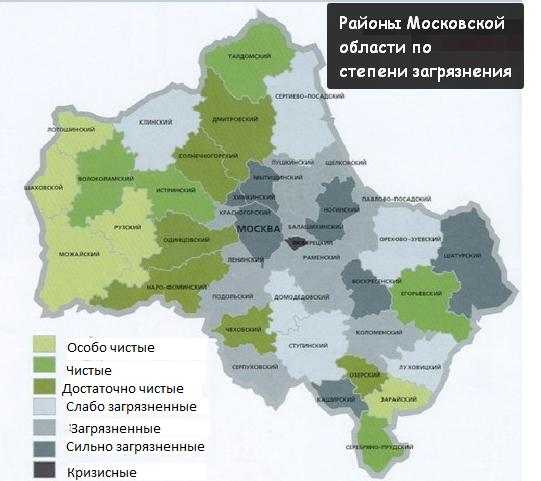 Районы Московской области по степени загрязнения