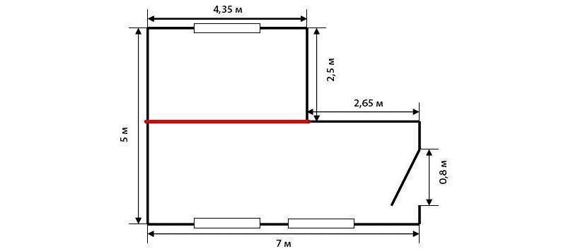Площадь комнаты с нишей