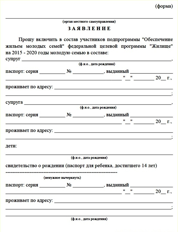 Образец заявления на участие в госпроекте