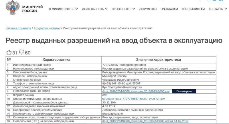 Реестр разрешений на сайте Минстрой России